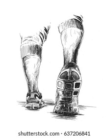 Athletic legs - Sport and fitness, Hand Drawn Sketch Vector illustration.