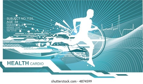 athletic man silhouette running on abstract futuristic background,vector