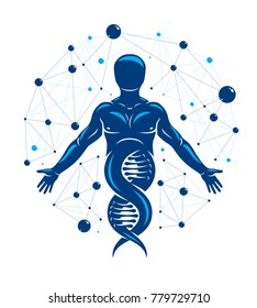 Athletic man vector illustration made using DNA symbol and futuristic molecular connections. Human as the object of biochemistry research, genetic engineering.