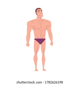 Athletic Muscular Man in Underwear, Inverted Triangle Male Body Type Cartoon Style Vector Illustration on White Background
