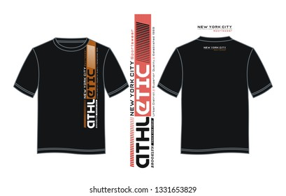 Athletic New York City Sports typography design with a black color t shirt sample front and back, for screen printing and others. vector image illustrator