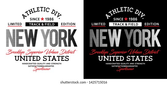 Athletic New York typography design united states for t shirt print men, vector