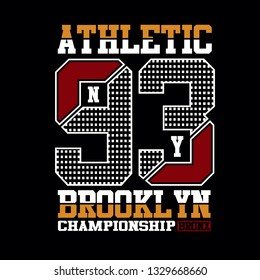 athletic new york,brooklyn,sport numbers tee,element graphic t shirt print vector illustration typography design