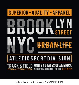 Athletic NYC typography for t-shirt print and other uses. Athletic. Vector