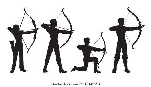 Athletic power shooter boy figure stand on knee with longbow on white backdrop. Dark black ink drawn dart point lady bowwoman logo emblem pictogram in art retro contour print style with space for text