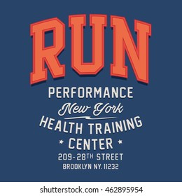 Athletic run typography, t-shirt graphics, vectors, sport