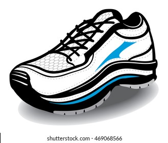 Athletic Running Blue white and black shoe