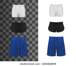 Athletic shorts, realistic clothes or sport pants, vector mockup template. Sport shorts for soccer, basketball or football, men uniform or women sportswear apparel, black, blue and white tennis shorts