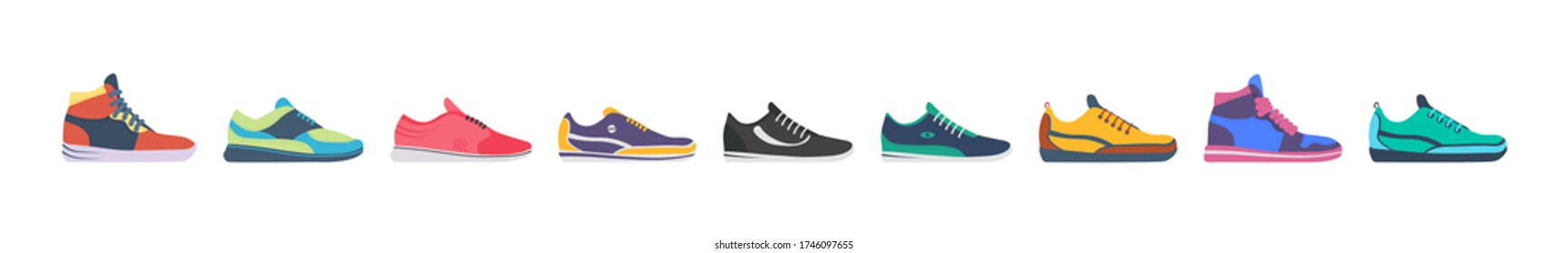Athletic sneakers, fitness sport shop footwear collection on white background. Sneaker shoe. Set of sport shoes for training, running. Vector illustration in flat design, eps 10.