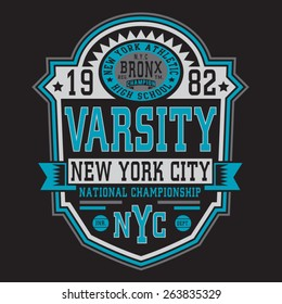 Athletic sport NYC typography, t-shirt graphics, vectors