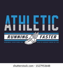 Athletic sport running typography. tee shirt graphics, vectors.