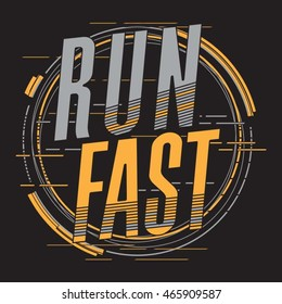 Athletic sport running typography, t-shirt graphics, vectors
