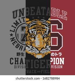 Athletic sport typography, tee shirt graphics, vectors, tiger illustration, wild tiger japan translation