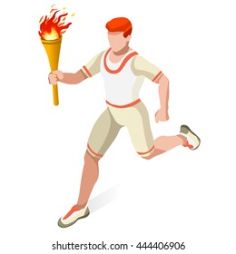 Athletic Torch Bearer man Athlete relay Sportsman Game Set. 3D Isometric event Athlete run Sport fire Championship People runner Set. Infographic Athletic Torch Bearer event Vector Illustration