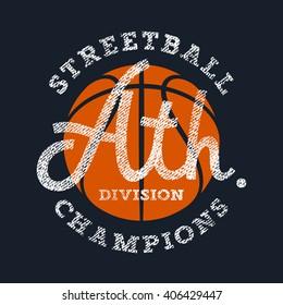 Athletic T-shirt graphics / Sport Vintage Typography / Textured lettering / Basketball Street ball Team Emblem