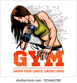 Athletic woman with dumbbells. Fitness club and gym banner or poster design.
