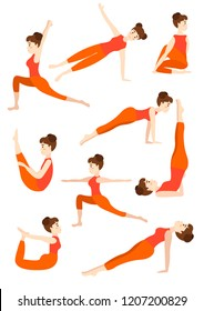 Athletic young girl doing yoga stands in the pose of a dog tree muzzle down a lotus pose and stuff