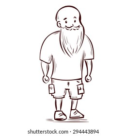 Athletic young man with a beard and mustache. Casual clothes. Hand drawn vector illustration.