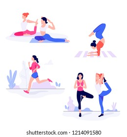 Athletic young women workin out, doing fitness exercise