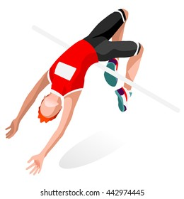 Athletics High Jump Sportsman Games Icon Set. 3D Isometric Athlete. Sporting Championship People Athletics Competition. Sport Infographic Athletics High Jump events Vector Illustration