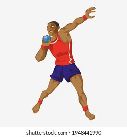 Athletics Shot Put Sportsman Games. Sporting Championship People Competition. Sport Infographic Shot Put Athletics events. White background. Drawn in a flat style