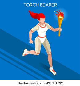 Athletics Torch Bearer baton Athletes Sportswoman Games Icon Set. 3D Isometric Athlete. Sporting Championship People Set Competition. Infographic Athletics Torch Bearer events Vector Illustration