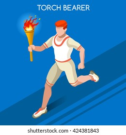 Athletics Torch Bearer baton Athletes Sportsman Games Icon Set. 3D Isometric Athlete. Tokyo Sporting People Competition. Infographic Athletics Torch Bearer events Vector Illustration
