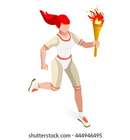 Athletics Torch Bearer relay runner Athlete Sportswoman Games Icon Set. 3D Isometric Athlete. Sporting People Set Competition. Infographic Athletic Torch Bearer events Vector collection Illustration
