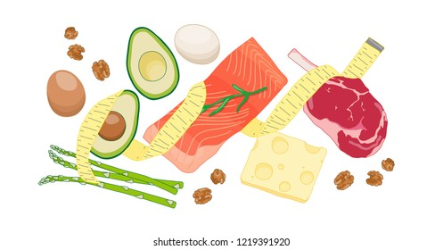 Atkins low carb diet concept illustration with meat, fatty fish, eggs, vegetables, cheese and nuts. Vector drawing with dietary foods for weight loss and good health. Fighting obesity problems.