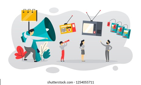 ATL or above the line communication with customer. TV and newspaper advertising. Announcement on billboard. Isolated flat vector illustration