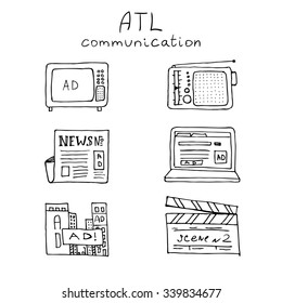 ATL Communication in advertisement hand made icon set. Monochrome, black draft lines, no background.