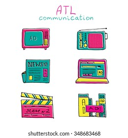 ATL Communication in advertisement hand made icon set. Trendy color pencil outlined set.