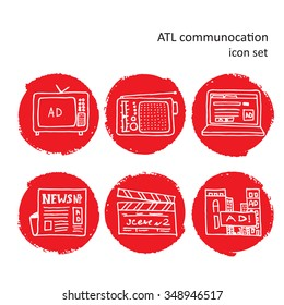 ATL Communication in advertisement hand made icon set. Round rough edge red background and white pencil stroke symbols set.