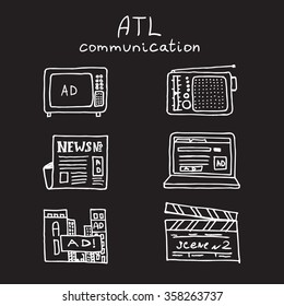 ATL Communication in advertisement hand made icon set. Monochrome, white on black draft lines collection.