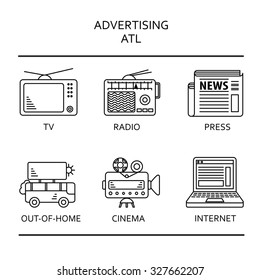 ATL  communication or allow-the-line advertising technique thin line icons, black on the white background. For illustration of services and directions for advertising agency.