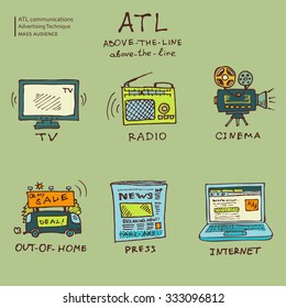 ATL communications symbols collection to present services of media studios