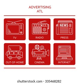 ATL communications symbols collection to present services of advertising agency or studio. White on dark red rectangular background with round corners.