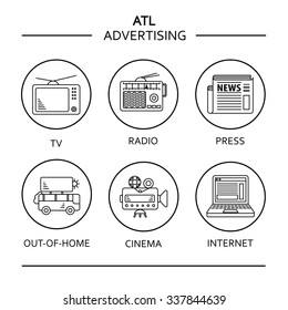 ATL communications symbols collection to present services of ads studios. Black on white with circle stroke.