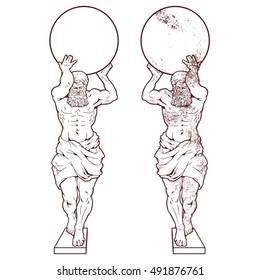 Atlant statue vector graphics.
