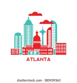 Atlanta city architecture retro vector illustration, skyline city silhouette, skyscraper, flat design
