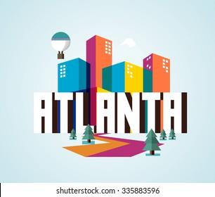 Atlanta city logo in colorful vector
