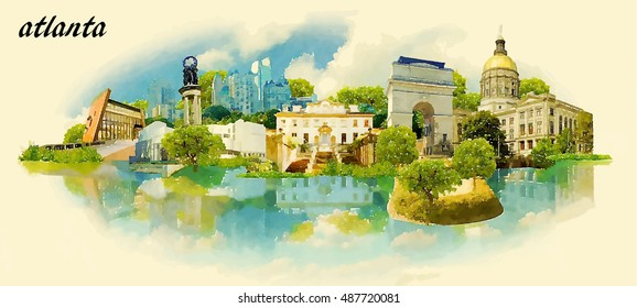 ATLANTA city panoramic vector water color illustration