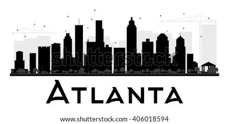 0d064e78e1ea Atlanta City skyline black and white silhouette. Vector illustration.  Simple flat concept for tourism