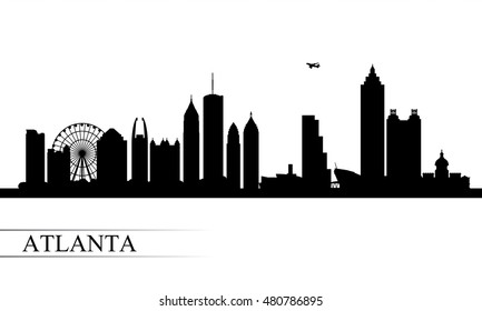 Atlanta city skyline silhouette background, vector illustration