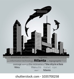 Atlanta city skyline. Vector illustration