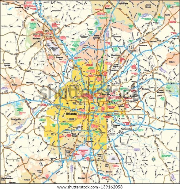 Map Of Atlanta Georgia Area.Atlanta Georgia Area Map Stock Vector Royalty Free 139162058