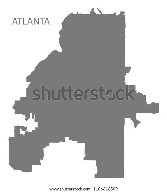 Atlanta Georgia City Map Grey Illustration Stock ...