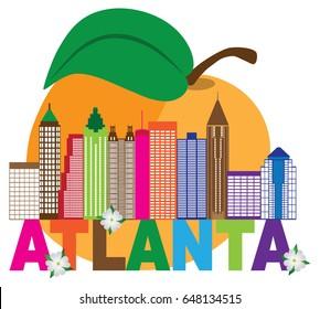 Atlanta Georgia City Skyline Abstract with Peach Dogwood Flowers Colorful Text vector  illustration