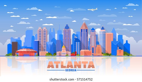 Atlanta (Georgia ) city skyline blue sky background. Flat vector illustration. Business travel and tourism concept with modern buildings. Image for banner or web site.