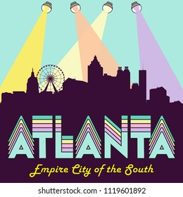 Atlanta Georgia USA skyline silhouette flat design vector design illustration